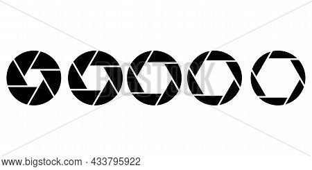 Collection Of Camera Lens Icons. Photo And Video Emblems. Simple Illustration. Vector Illustration.