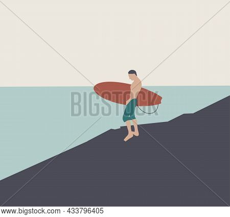 Man Hold Surfboard Near Beach Vintage Color Design, Vector Illustration. Cartoon Summer Male Charact