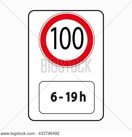 100 Kmh Speed Limit Sign. Limited Time. Traffic Laws. Regulation Concept. Road Post. Vector Illustra