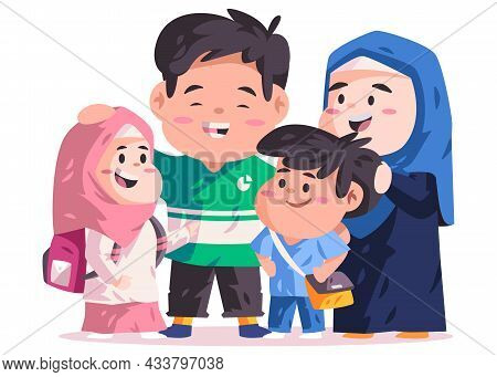 Muslim Islam Couple Parents Together With Children With Schoolbag Go Back To School In Elementary Pr