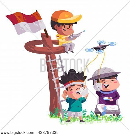 Boys Eating Krupuk Competition And Kids Climbing Panjat Pinang Play Remote Control Drone Toys With I