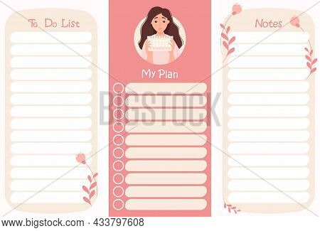 Set Of To Do List And Notes. Planner Organizer With Cute Girl With Calendar On Decorative Floral Pin