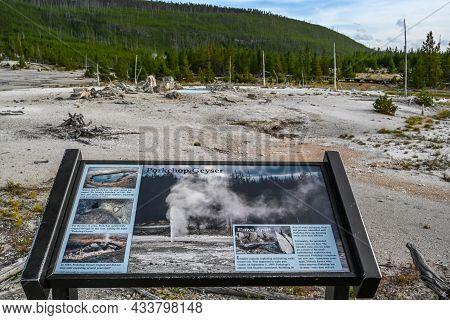 Yellowstone Np, Wy, Usa - Aug 12, 2020: The Prokchop Geyser