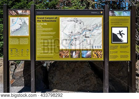 A Description Board For The Trails In Yellowstone Np, Wyoming