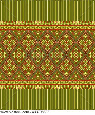 Yellow Red Ethnic Or Tribal Seamless Pattern On Green Background In Symmetry Rhombus Geometric Bohem