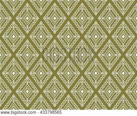 White Tribal Or Ethnic Seamless Pattern On Green Background In Symmetry Rhombus Geometric Bohemian S