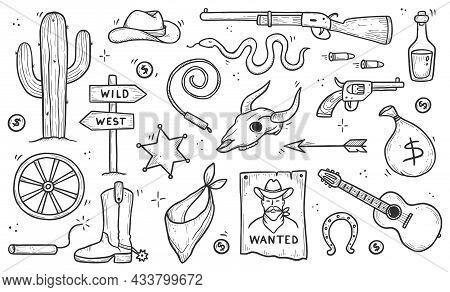 Cowboy Western Doodle Set. Hand Drawn Sketch Line Style. Cowboy Hat, Cow Skull, Gun, Cactus Element.