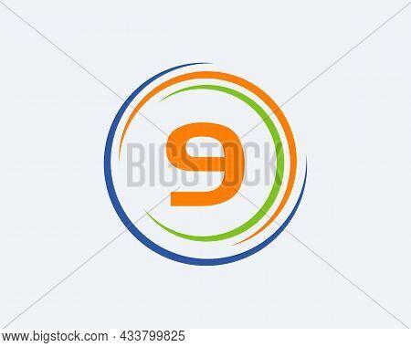 9 Letter Logo Design. Modern, Unique Creative 9 Logo Design. Initial 9 Letter Business Logo Template