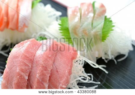 Sliced raw fish called Sashimi