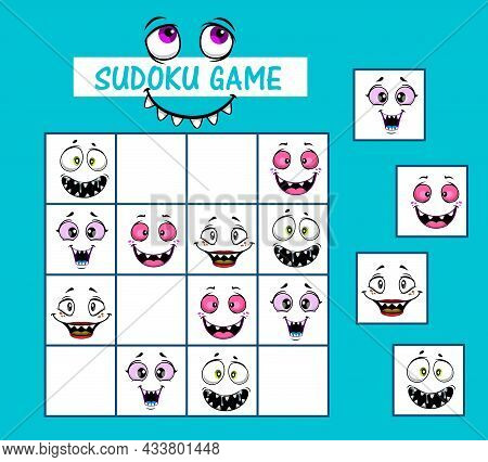Sudoku Kids Game Vector Riddle With Cartoon Funny Faces And Monster Muzzles On Board. Children Logic