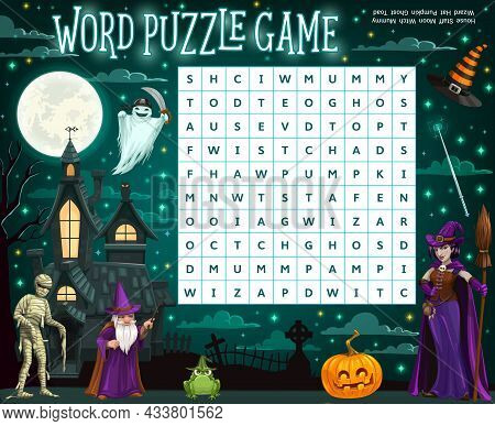 Halloween Word Puzzle Worksheet With Cartoon Wizard, Witch, Mummy And Ghost House. Word Quiz Or Ridd