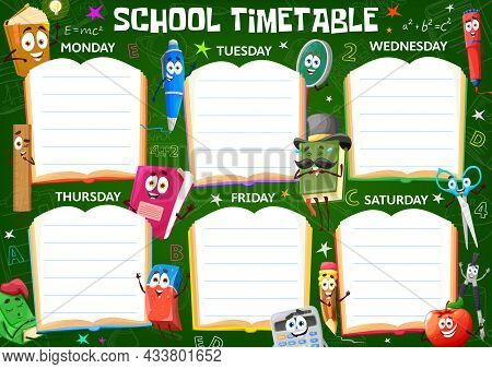 Education Timetable Schedule With Cartoon School Education Stationery And Book Characters. Kids Less