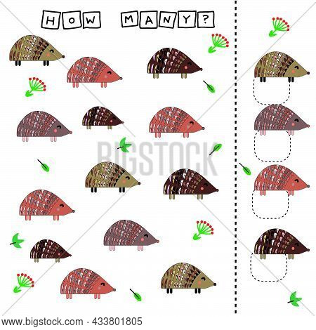 How Many Counting Game With Funny Hedgehog. Worksheet For Preschool Kids, Kids Activity Sheet, Print