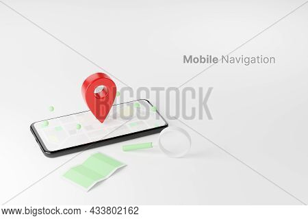 Mobile Navigation, Gps Satellite Navigation, Travel, Tourism And Location Route Planning Concept. Sm