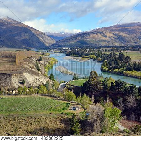 View Of The Kawarau Gorge From Bannockburn With Pinot Noir Vineyards In The Foreground, Central Otag