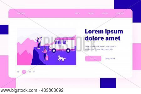 Cartoon People Travelling On Van In Mountains. Dog, Baggage, Landscape Flat Vector Illustration. Adv