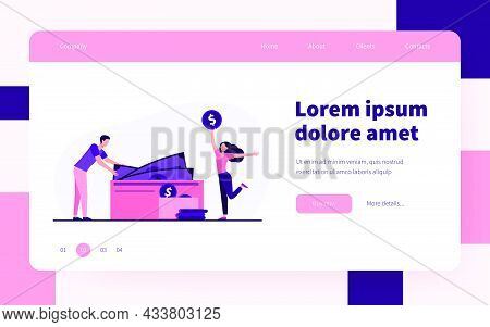 Couple Counting Cash In Wallet. Money, Income, Salary, Profit Flat Vector Illustration. Finance, Fam