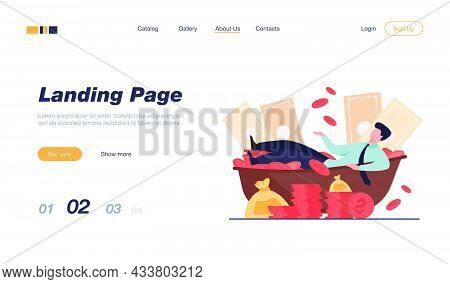 Happy Millionaire Taking Bath With Cash. Rich Man And Huge Heap Of Money. Vector Illustration For Fi