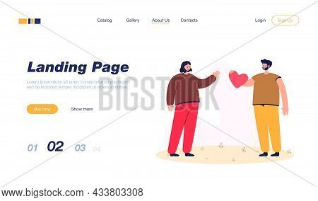 Man Giving Cartoon Heart To Woman. Smiling Male Character Confessing Feelings Flat Vector Illustrati