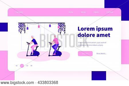 Old People Training On Exercise Bicycle In Gym. Pensioner, Body, Health Flat Vector Illustration. Sp