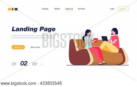 Two Women Relaxing At Home. Girls Reading Book, Using Tablet, Drinking Tea Flat Vector Illustration.