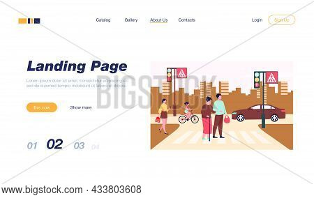 Young Man Helping Old Woman Crossing Road Flat Vector Illustration. Cartoon Elderly Walking Town Cro