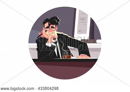 Tired Editor Man In Office Vector Illustration. Exhausted Person With Glass Of Whiskey In Personal O