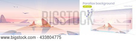 Sea Beach, Small Island In Water With Rocks And Rising Sun At Morning. Vector Parallax Background Wi