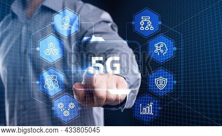 The Concept Of 5g Network, High-speed Mobile Internet, New Generation Networks. Business, Modern Tec