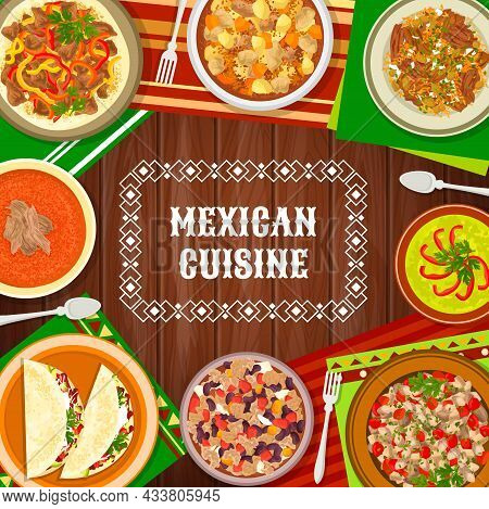 Mexican Cuisine Food Dishes, Mexico Meals Menu Cover, Vector Traditional Restaurant Dinner And Lunch