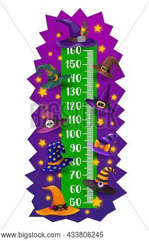 Kids Height Chart, Halloween Witch And Wizard Hats, Vector Growth Meter. Child Height Measuring Scal