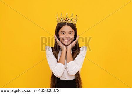 Expressing Smug. Arrogant Princess In Tiara. Proud Teen Girl Smiling.