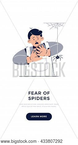 Fear Of Spiders, Arachnophobia Banner. Scared Child Character Is Afraid Of Spider. Phobias, Childhoo
