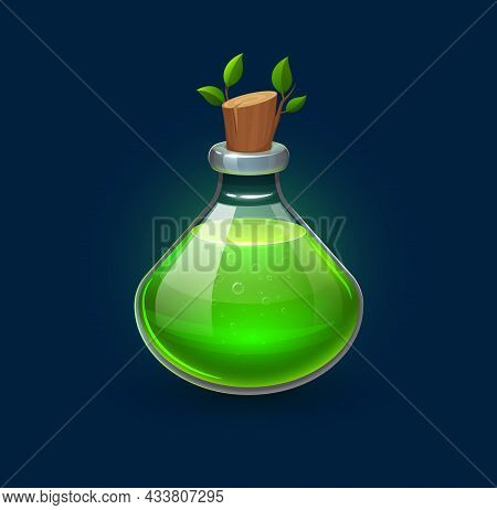 Witchcraft Green Potion In Bottle, Growth Elixir Or Witch Spell Vial, Cartoon Vector. Magic Glass Ja