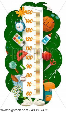 Kids Height Chart With School Book And Bag, Stationery And Sport Items. Children Height Centimeters