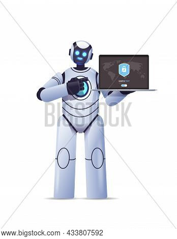 Robot Cyborg Holding Laptop With Protection Shield Cyber Security Data Protection Artificial Intelli