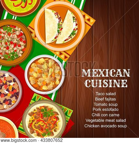 Mexican Cuisine Food Menu Cover, Mexico Dishes And Meals, Vector. Mexican Food And Mexico Cuisine Re