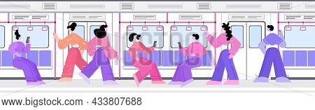 People Passengers Using Digital Gadgets In Subway Underground Tram City Public Transport