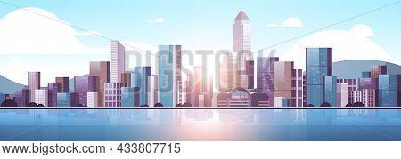 City Buildings Skyline Modern Architecture Sunset Cityscape Background Horizontal