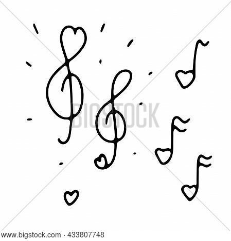 Doodle Valentines Cute Musical Signs Set. Hand-drawn Love Sound Symbol On White Background. Outline