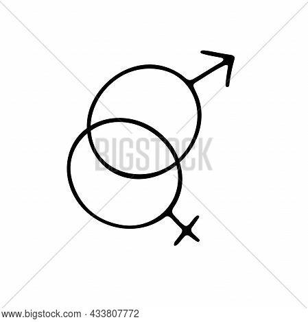 Doodle Gender Symbol. Crossed Symbols Of Venus, Mars. Outline Sketch Female, Male, Heterosexual Coup