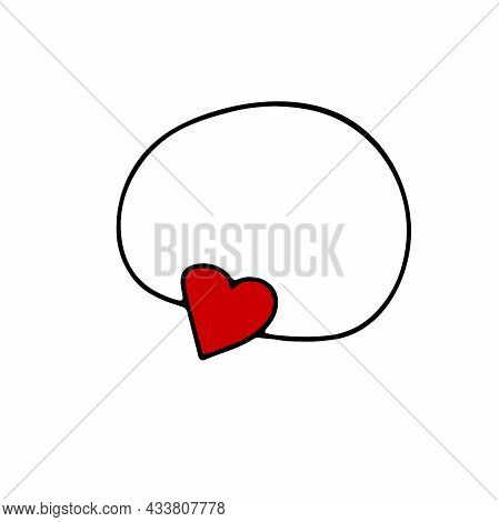 Doodle Heart Shape Pendant. Hand-drawn Cute Red Accessory Isolated On White Background. Outline Pend