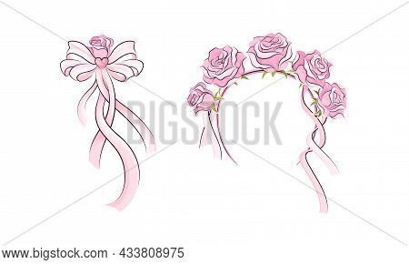 Ballerina Accessories Set. Pink Headband With Rose Flowers And Bow Hand Drawn Vector Illustration