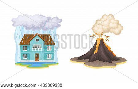 Natural Disasters Set. Flood And Volcano Eruption Cartoon Vector Illustration
