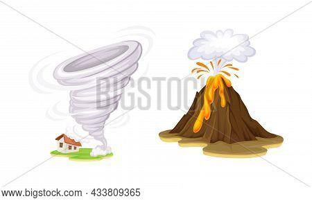 Natural Disasters Set. Tornado And Volcano Eruption Cartoon Vector Illustration