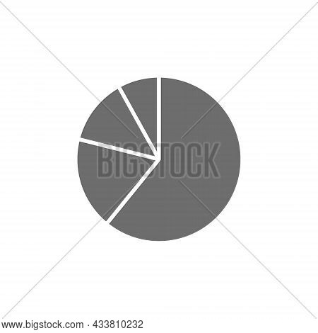Pie Chart, Graphs In Segments Grey Icon.