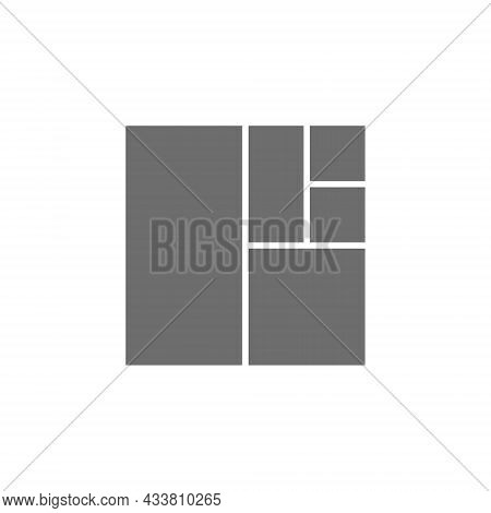 Golden Ratio Square Grey Icon. Isolated On White Background