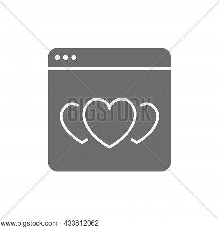 Hearts In Browser, Favorite Website, Positive Feedback Grey Icon.