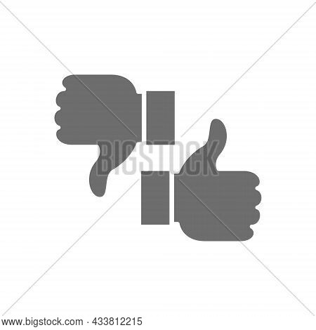 Like, Dislike, Thumbs Up And Down, Feedback Grey Icon.