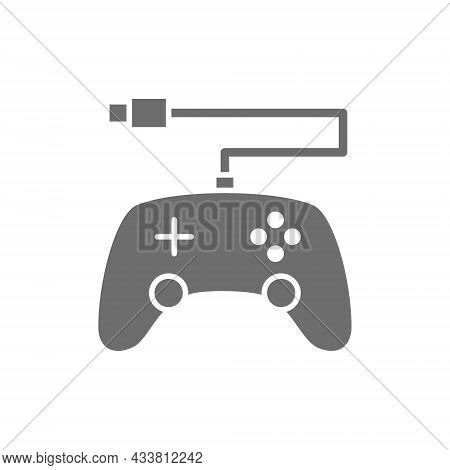 Gamepad, Console Controler Grey Icon. Isolated On White Background